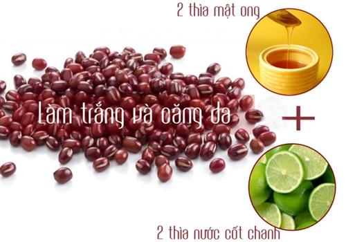 bột đậu đỏ làm trắng và căng da