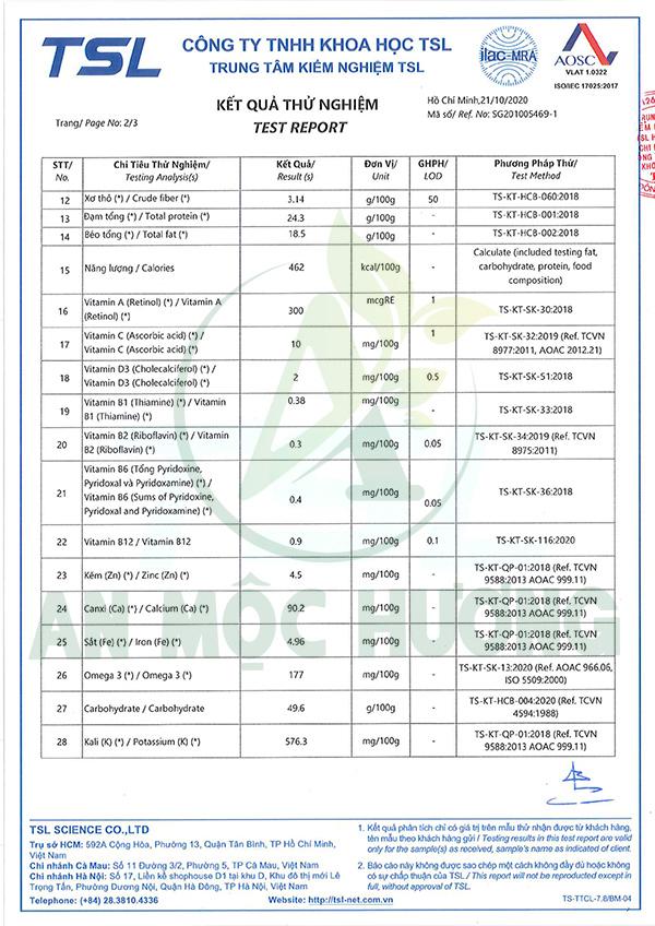 bảng kiểm nghiệm thành phần dinh dưỡng ngũ cốc an mộc hương